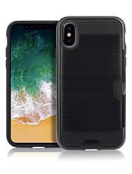 baratos -Capinha Para Apple iPhone X iPhone 8 Porta-Cartão Antichoque Áspero Capa Traseira Côr Sólida Rígida TPU para iPhone X iPhone 8 Plus