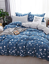cheap -Duvet Cover Sets Floral Contemporary 4 Piece Poly/Cotton Reactive Print Poly/Cotton 4pcs (1 Duvet Cover, 1 Flat Sheet, 2 Shams) (If Twin