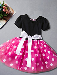 cheap -Girl's Daily Going out Polka Dot Dress, Cotton Polyester Summer Short Sleeves Simple Cute Active Red Fuchsia