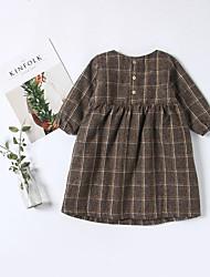 abordables -Robe Fille de Quotidien Couleur Pleine Coton Fibre de bambou Spandex Printemps Manches Longues Rétro Marron