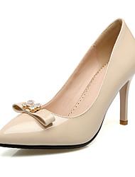 preiswerte -Damen Schuhe Lackleder Frühling Sommer Komfort Pumps High Heels Stöckelabsatz Spitze Zehe Schleife für Hochzeit Party & Festivität
