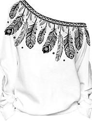 preiswerte -Damen Langarm Schulterfrei Kapuzenshirt - Druck