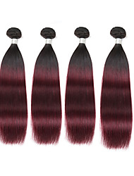 cheap -4 Bundles Brazilian Hair Classic Human Hair Ombre Hair Weaves Human Hair Weaves Human Hair Extensions / Straight