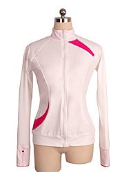 cheap -Figure Skating Fleece Jacket Women's / Girls' Ice Skating Top Pink Spandex Stretchy Performance / Practise Skating Wear Solid Colored