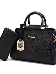 baratos -Mulheres Bolsas PU Conjuntos de saco 2 Pcs Purse Set Ziper Azul / Preto / Vinho