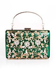 cheap -Women's Bags Polyester Evening Bag Crystals / Flower Black / Silver / Red