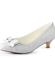 cheap -Women's Shoes Stretch Satin Spring / Fall Basic Pump Wedding Shoes Kitten Heel Round Toe Crystal Silver / Party & Evening