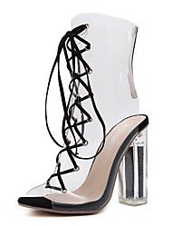 preiswerte -Damen Schuhe Kunstleder Frühling Sommer Komfort Neuheit Modische Stiefel Stiefeletten Sandalen Kristallabsatz für Hochzeit Schwarz