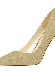 preiswerte -Damen Schuhe Glanz Frühling Herbst Gladiator Pumps High Heels Stöckelabsatz für Kleid Party & Festivität Gold Schwarz Silber