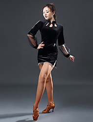 cheap -Latin Dance Dresses Women's Performance Velvet Chiffon Split Joint Long Sleeves Natural Dress