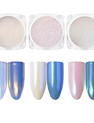 cheap -1pc Mirror Effect Mermaid Pearl Effect Powder Nail Glitter Glitter Powder Light Pink White-Purple Blue Nail Art Design