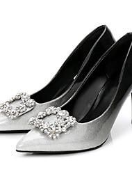 preiswerte -Damen Schuhe Lackleder Frühling Herbst Pumps High Heels Stöckelabsatz Spitze Zehe Strass für Kleid Party & Festivität Schwarz und Silbern