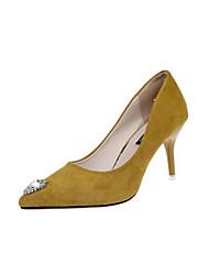 preiswerte -Damen Schuhe PU Frühling / Herbst Komfort High Heels Stöckelabsatz Geschlossene Spitze Gelb / Rot / Mandelfarben