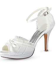 cheap -Women's Shoes Stretch Satin Summer Basic Pump Wedding Shoes Stiletto Heel Peep Toe Buckle for Wedding Party & Evening Ivory