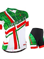 preiswerte -Nuckily Damen Kurzarm Fahrradtriktot mit Fahrradhosen - Grün Geometrisch Fahhrad Shorts/Laufshorts Trikot/Radtrikot Kleidungs-Sets,