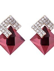 baratos -Mulheres Cristal Brincos Curtos - Cristal, Zircão Básico Vermelho / Azul Real Para Aniversário / Presente
