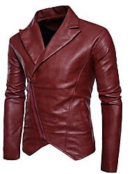 Недорогие -Муж. На каждый день Осень Обычная Кожаные куртки V-образный вырез, Панк & Готика Однотонный Полиуретановая Оборки