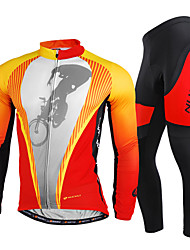 cheap -Nuckily Men's Long Sleeves Cycling Jersey with Tights - Red Bike Clothing Suits, Quick Dry, Ultraviolet Resistant, Breathable,