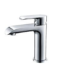 abordables -Moderne Set de centre Soupape céramique Mitigeur un trou Chrome, Robinet lavabo