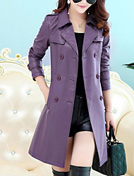 cheap -Women's Trench Coat - Solid Colored Shirt Collar