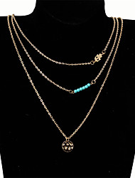 cheap -Women's Turquoise Layered Choker Necklace / Layered Necklace - Fashion, Multi Layer Gold Hamsa Hand Necklace One-piece Suit For Evening Party, Prom