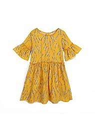 preiswerte -Mädchen Kleid Blumen Sommer Niedlich Gelb