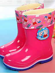 cheap -Girls' Shoes PVC Leather Spring Fall Comfort Rain Boots Boots Mid-Calf Boots for Casual Blue Red