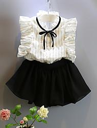 Недорогие -Девочки Набор одежды Хлопок Однотонный Лето Без рукавов Белый