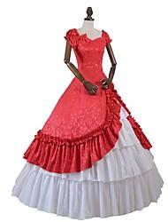 abordables -Rococo Victorien Costume Femme Adulte Tenue Rouge/Blanc Vintage Cosplay Mélange de Coton Jacquard Polyester Manches Courtes Accueil froid