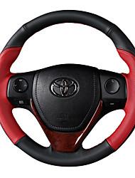 abordables -Protège Volant Cuir véritable 38cm Marron / Noir / Rouge For Toyota RAV4 2016 / 2015 / 2014