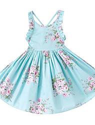 cheap -Girl's Daily Holiday Solid Floral Dress,Cotton Summer Sleeveless Cute Casual Boho Light Blue Blushing Pink