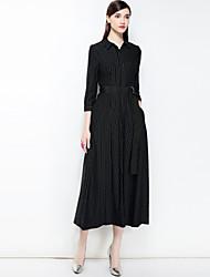 baratos -Mulheres Boho balanço Vestido - Básico, Listrado Colarinho de Camisa