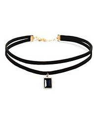 cheap -Women's Rectangle Classic Fashion Choker Necklace Synthetic Sapphire Gemstone Leather Alloy Choker Necklace , Daily