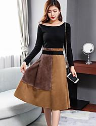 preiswerte -Damen Baumwolle Pullover - Einfarbig, Spitze Rock