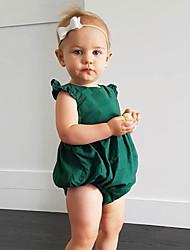 abordables -bébé Une-Pièce Fille Quotidien Couleur Pleine Coton Lin Fibre de bambou Acrylique Printemps Sans Manches simple Vert