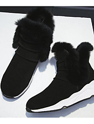 cheap -Women's Shoes Nubuck leather Cowhide Winter Fall Comfort Snow Boots Boots Wedge Heel Booties/Ankle Boots for Casual Black Gray