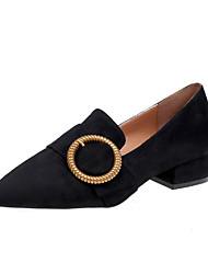 baratos -Mulheres Sapatos Couro Ecológico Inverno Conforto Chinelos e flip-flops Ponta Redonda Penas Preto / Rosa claro