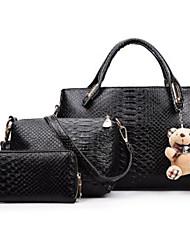 baratos -Mulheres Bolsas Poliéster / PU Conjuntos de saco 3 Pcs Purse Set Ziper Rosa / Cinzento / Roxo
