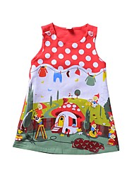 cheap -Girl's Daily Going out Polka Dot Print Animal Print Dress, Nylon Spring Summer Sleeveless Cute Active Red