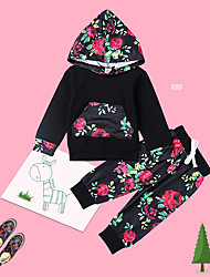 cheap -Baby Unisex Daily Floral Clothing Set,Cotton Spring Fall Cute Casual Long Sleeve Black
