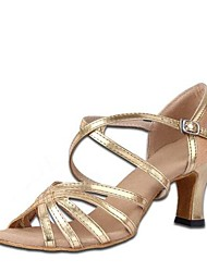 preiswerte -Damen Schuhe für den lateinamerikanischen Tanz Elastischer Satin / Kunstleder Sandalen Blockabsatz Maßfertigung Tanzschuhe Gold / Innen