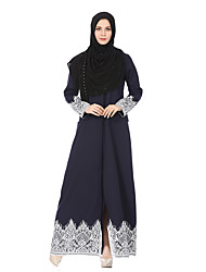 cheap -Women's Jalabiya Jalabiyah Dress - Solid Colored Lace High Rise Maxi Shirt Collar