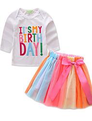 Недорогие -Девочки Набор одежды Повседневные Школа Хлопок С принтом Весна Лето На каждый день Уличный стиль Белый