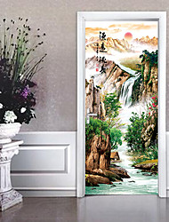 cheap -Landscape Scenic Wall Stickers Plane Wall Stickers 3D Wall Stickers Decorative Wall Stickers Door Stickers, Paper Vinyl Home Decoration