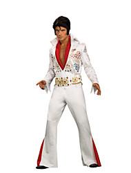 economico -Elvis Anni '60 Costume Per uomo Stile Carnevale di Venezia Bianco Vintage Cosplay Poliestere Manica lunga A campana Slip