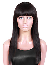 cheap -Remy Brazilian Lace Wig Straight With Baby Hair With Bangs Full Lace Lace Front Glueless Lace Front Glueless Full Lace 100% Hand Tied
