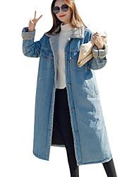 cheap -Women's Simple Jacket-Color Block,Lace Shirt Collar