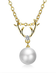 cheap -Women's Cubic Zirconia Pearl Gold Plated Pendant Necklace - Fashion European Necklace For Wedding Daily