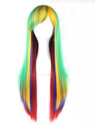 abordables -Perruque Synthétique Droit Avec Frange Partie latérale Vert Sans bonnet Perruque Lolita 13 cm Cheveux Synthétiques