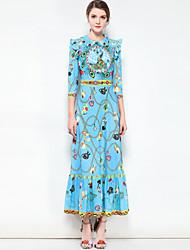 abordables -Mujer Básico / Boho Algodón Corte Swing Vestido Floral Maxi Cuello Camisero